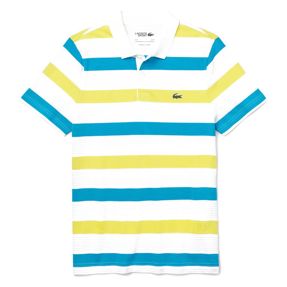 Lacoste Sport Striped Ultra Light Cotton XXXXL White / Citron / Cuba