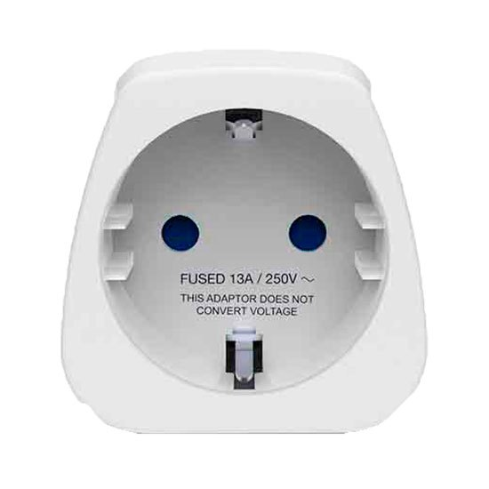 Travel Blue Europe To Uk Travel Adaptor Earthed One Size White