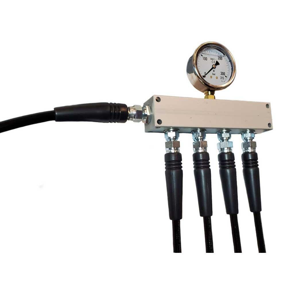 Metalsub Manifold Block With Gauge G 1/4 Inlet 4 Outlets Steel Zubehör und Ersatzteile Manifold Block With Gauge G 1/4´´ Inlet 4 Outlets