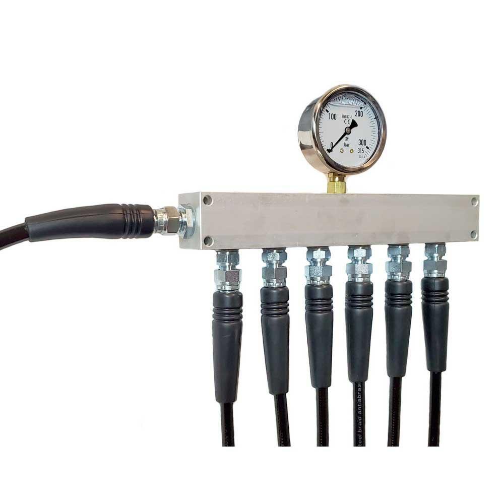 Metalsub Manifold Block With Gauge G 1/4 Inlet 6 Outlets Steel Zubehör und Ersatzteile Manifold Block With Gauge G 1/4´´ Inlet 6 Outlets