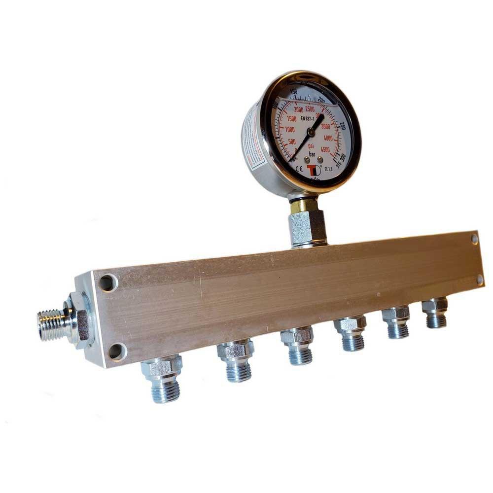 Zubehör und Ersatzteile Manifold Block With Gauge G 1/4´´ Inlet 6 Outlets