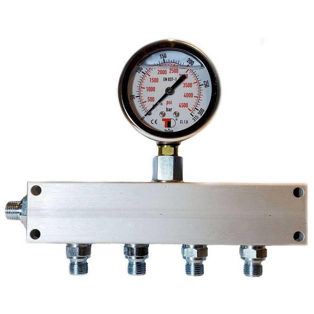 Zubehör und Ersatzteile Manifold Block With Gauge Bauer Inlet G 1/4´´ 4 Outlets