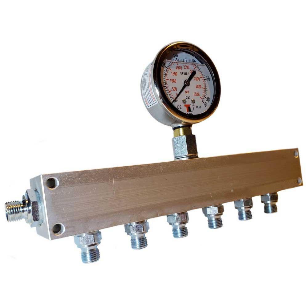 Zubehör und Ersatzteile Manifold Block With Gauge Bauer Inlet G 1/4´´ 6 Outlets