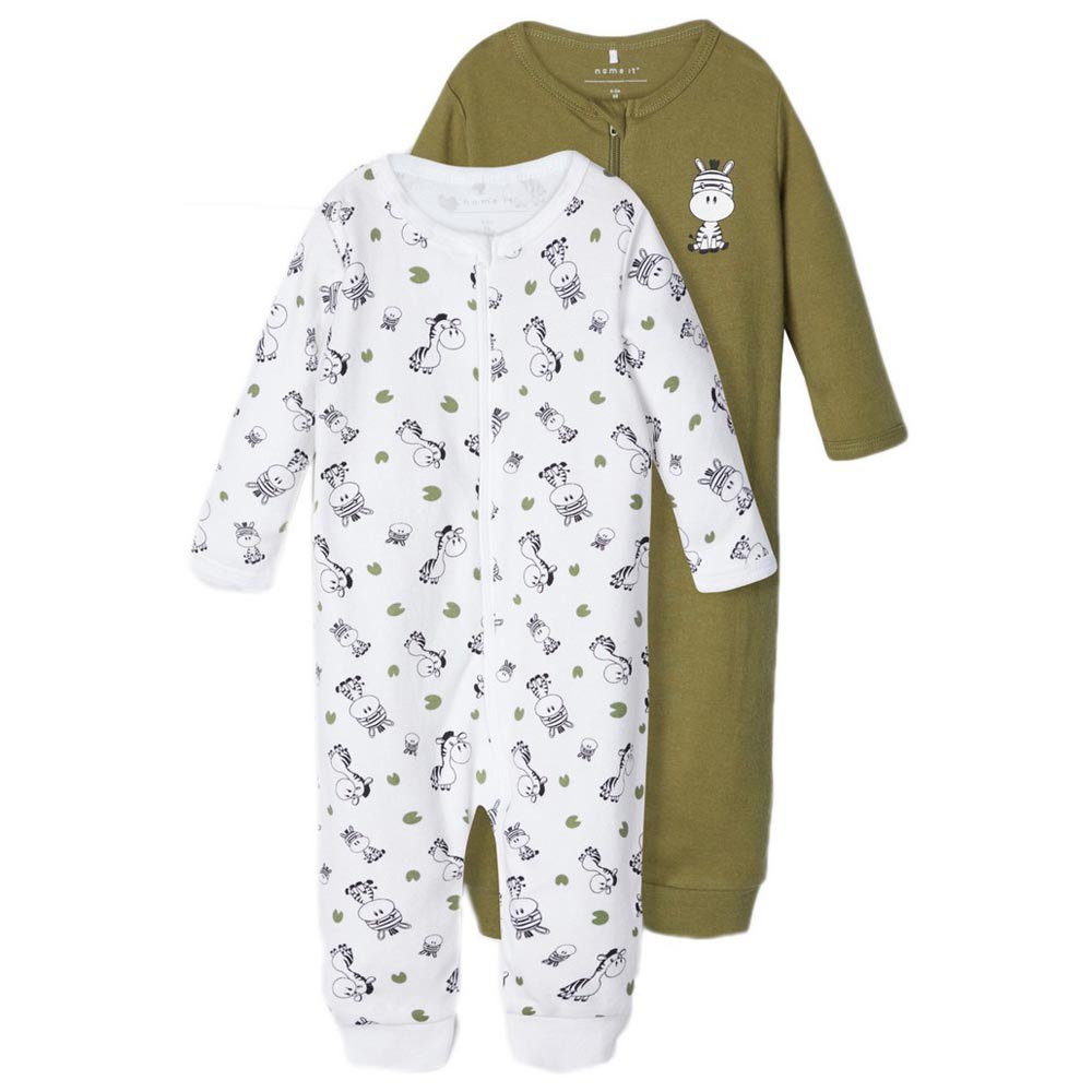 Name It Nightsuit Zip 2 Pack 2 Years Loden Green