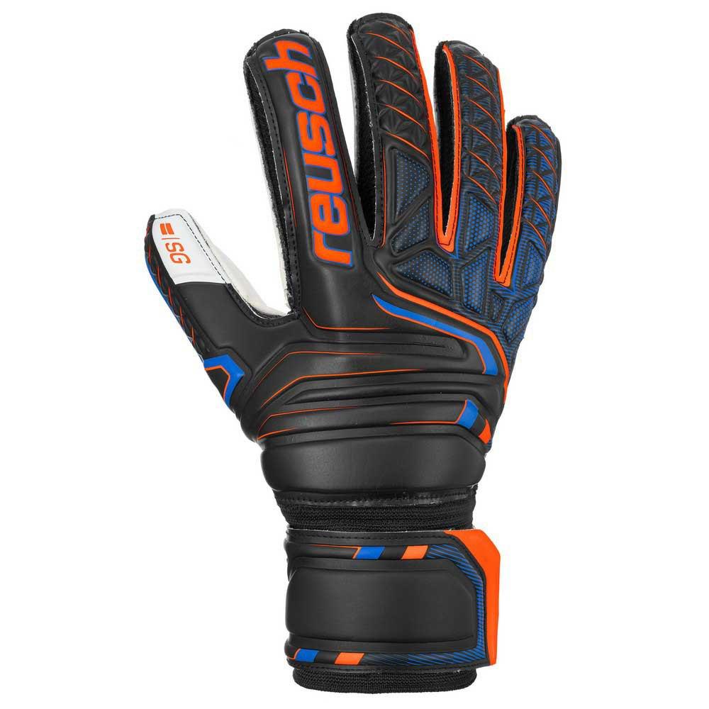 Reusch Gants Gardien Attrakt Sg Finger Support 9 Black / Shocking Orange