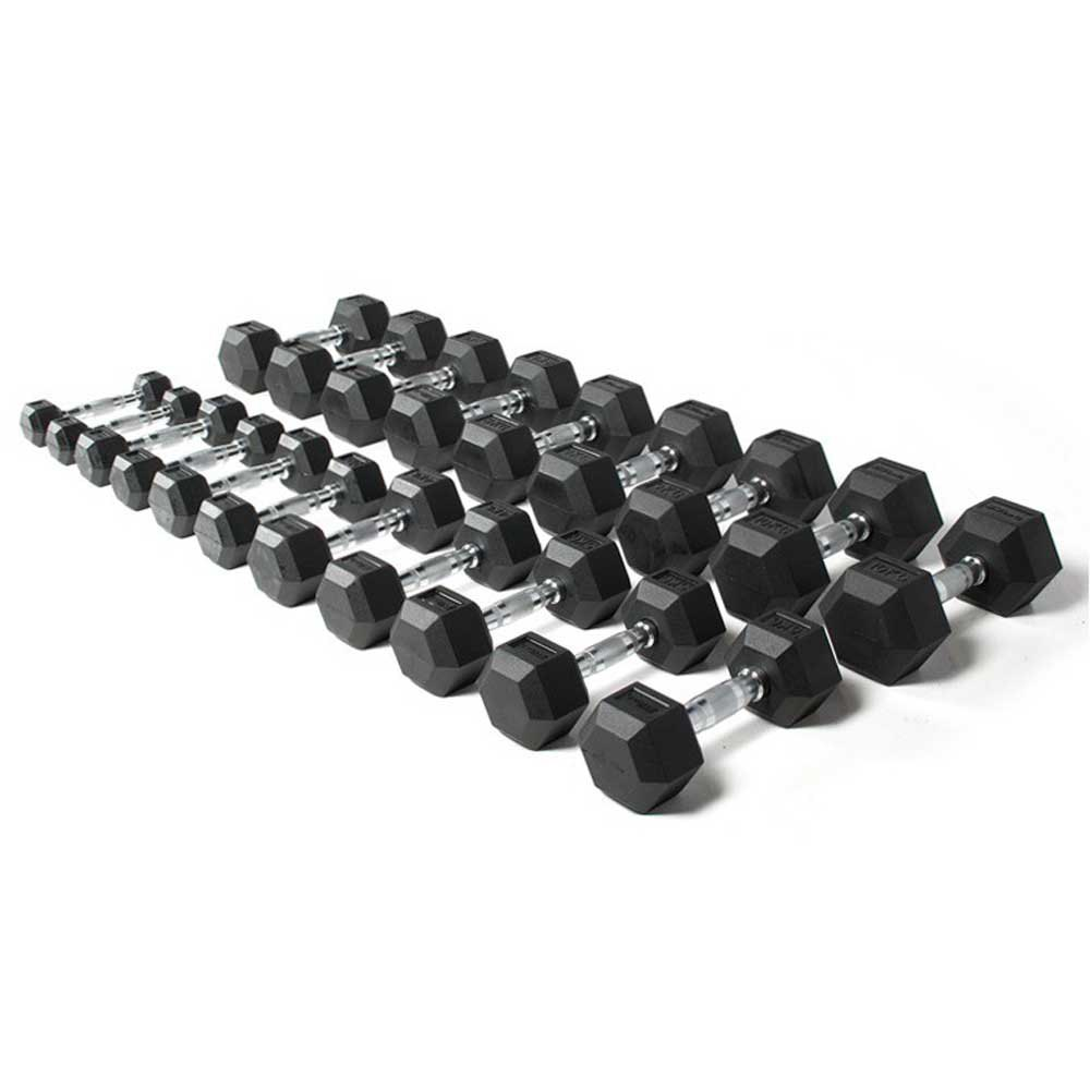 Olive Rubber Hex Kit 1 To 10 Kg Paires 1 to 10 kg Black / Chrome