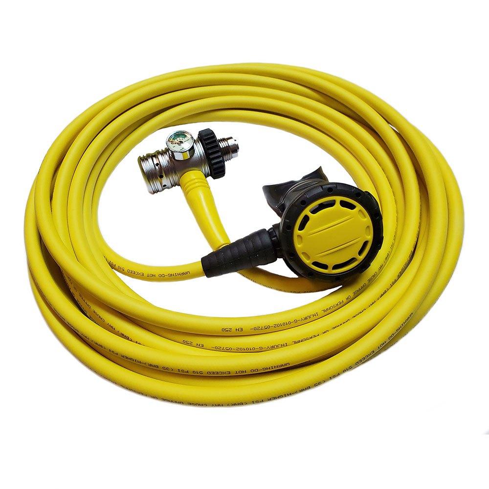 Metalsub Hookah Din Piston 5 M Atemregler Set Yellow Atemreglersets Hookah Din Piston 5 M Atemregler Set