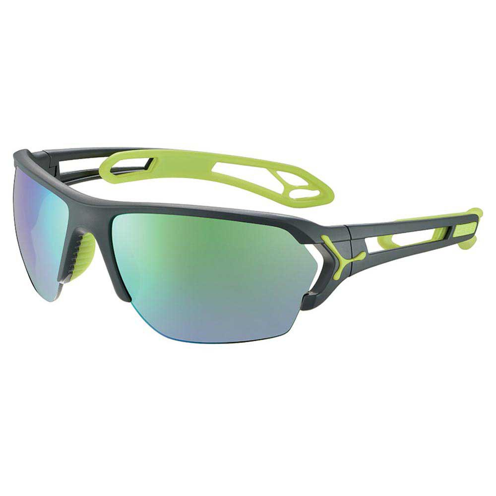 Cebe S´track L With Interchangeable Lenses Grey Zone Green Flash Mirror/CAT3 + Clear Zone/CAT0 Matt Grey / Lime
