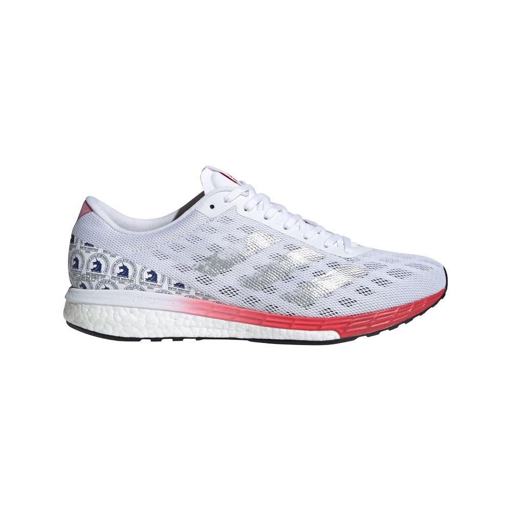 Adidas Adizero Boston 9 Bstnens EU 45 1/3 Ftwr White / Silver Metalic / Scarlet