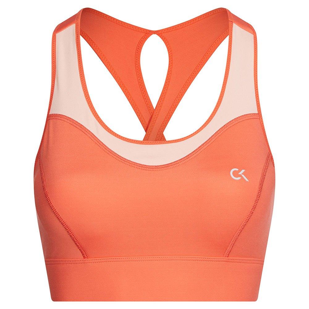 Calvin Klein Performance High Support Sports Bra XS Hot Coral / Peach Bud