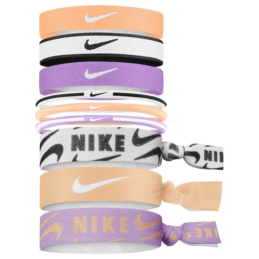 Nike Accessories Youth Printed Mixed Ponytail 9 Units One Size Orange / Black / Purple