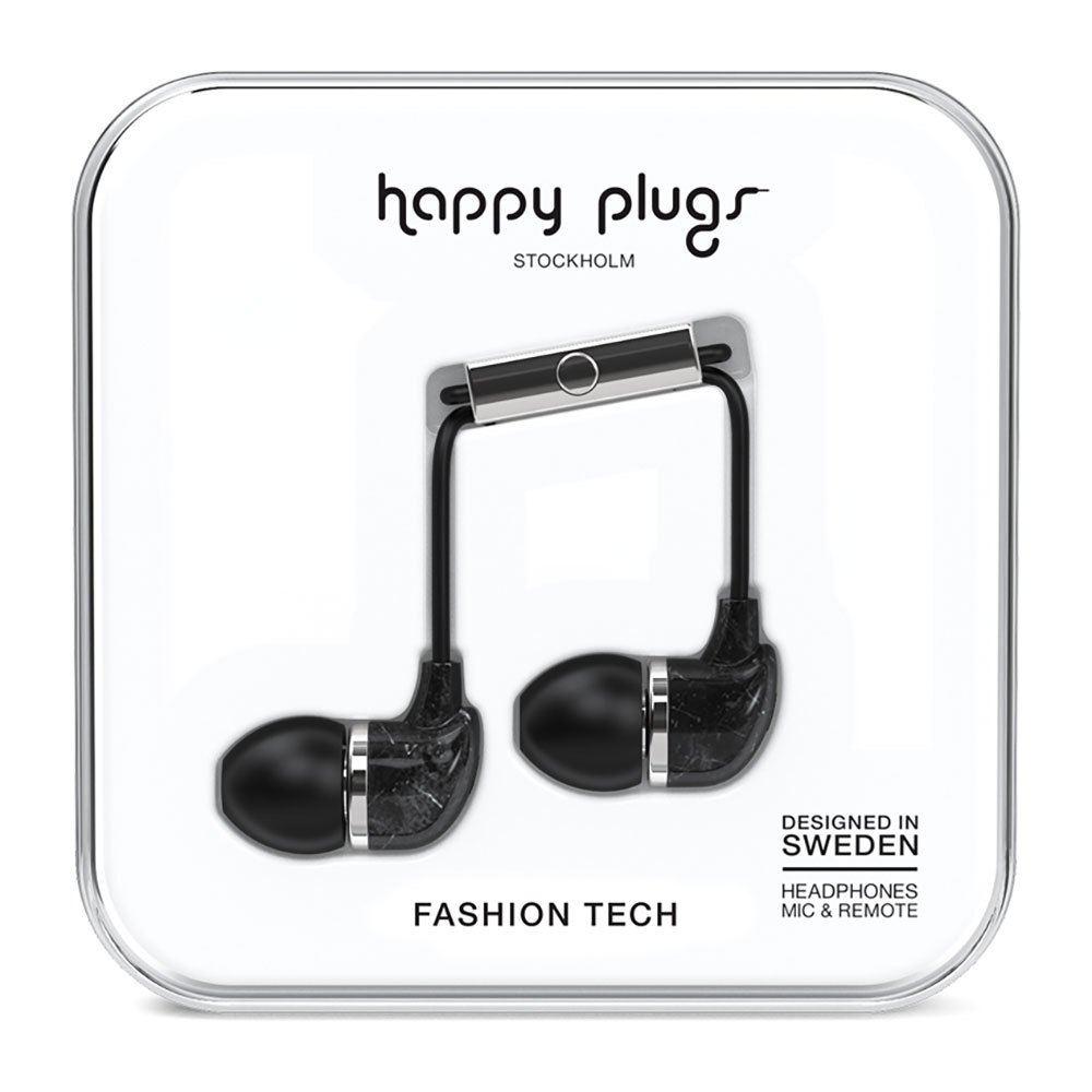Happy Plugs In Ear Wired One Size Black Marble