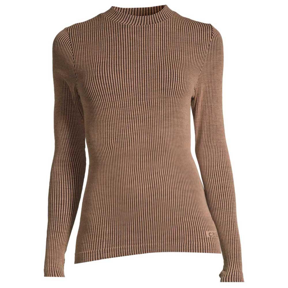 Casall Wool Rib T-shirt Manche Longue L Black Beige Rib