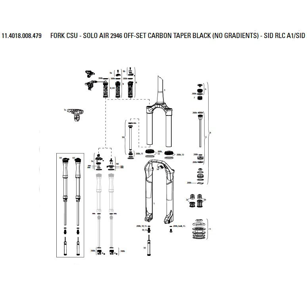 Horquillas Crown/steerer/uppertube Solo Air Carbon For Sid Rlc A1/sid Xx/rl B1