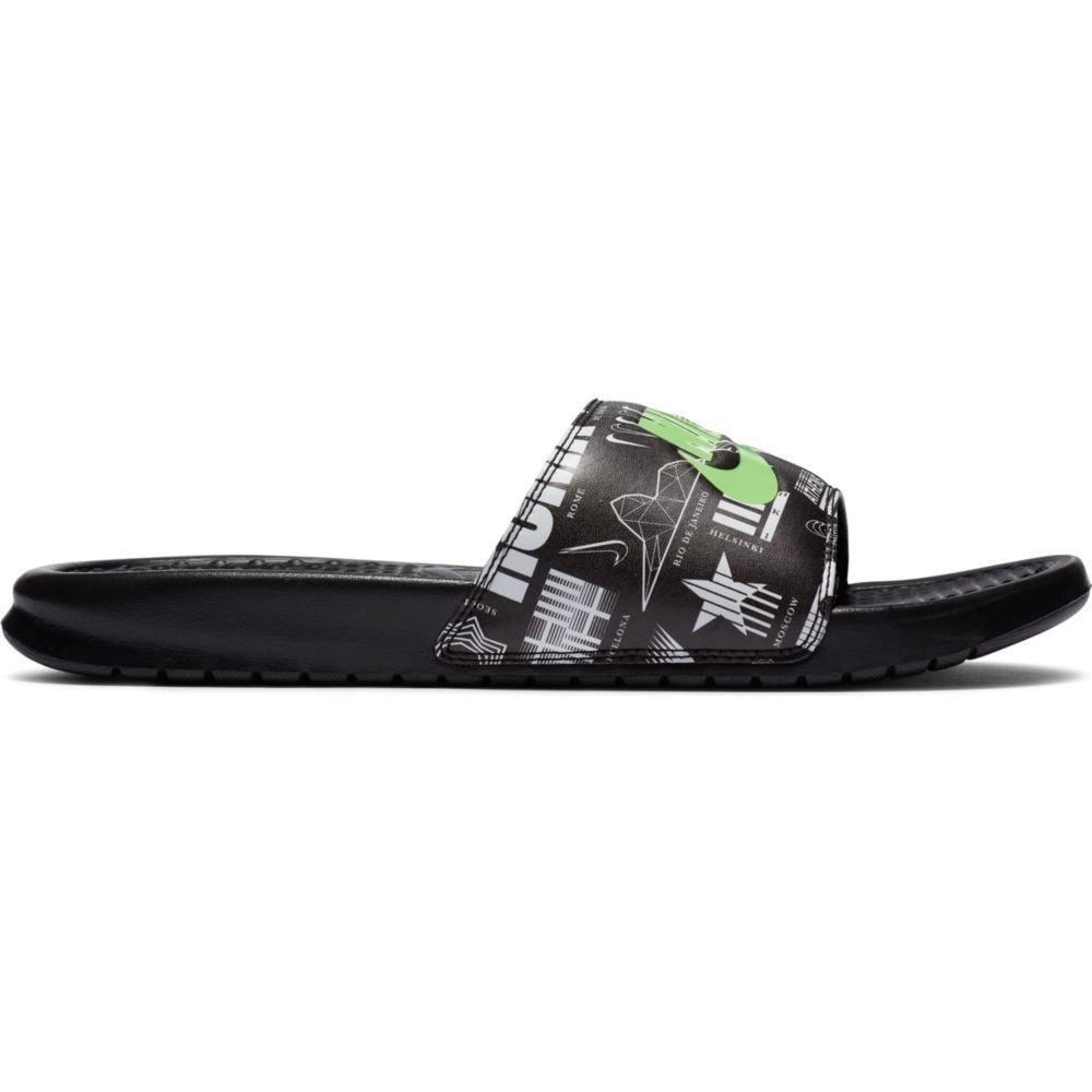 Nike Benassi Just Do It Slide EU 47 1/2 Black / Green Strike / Black / White