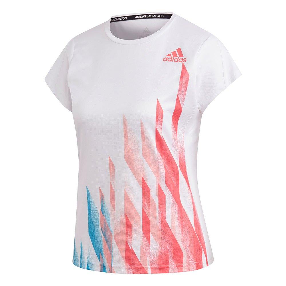 Adidas Badminton T-shirt Manche Courte Graphic XS White / Semi Flash Red