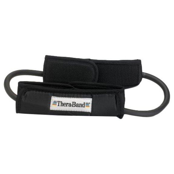 Theraband Tubing Loop Padded Cuffs 140 cm Black