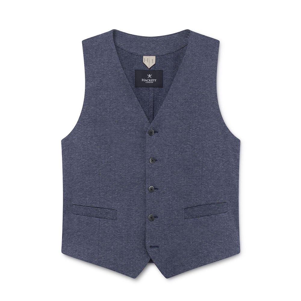 Hackett Denim Herringbone Knit Waistcoat 42 Blue
