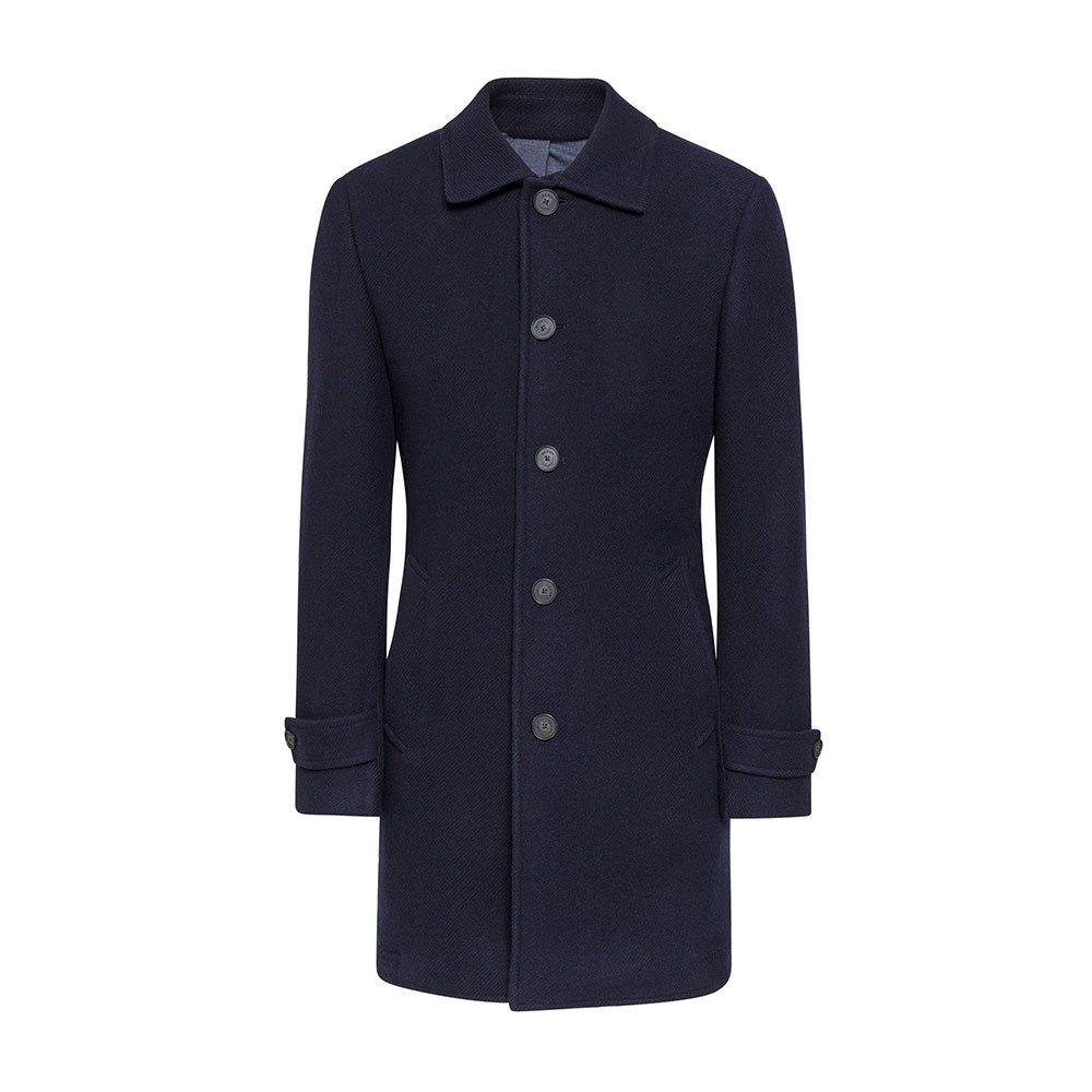 Hackett Washed Wool Twill Coat 46 Navy