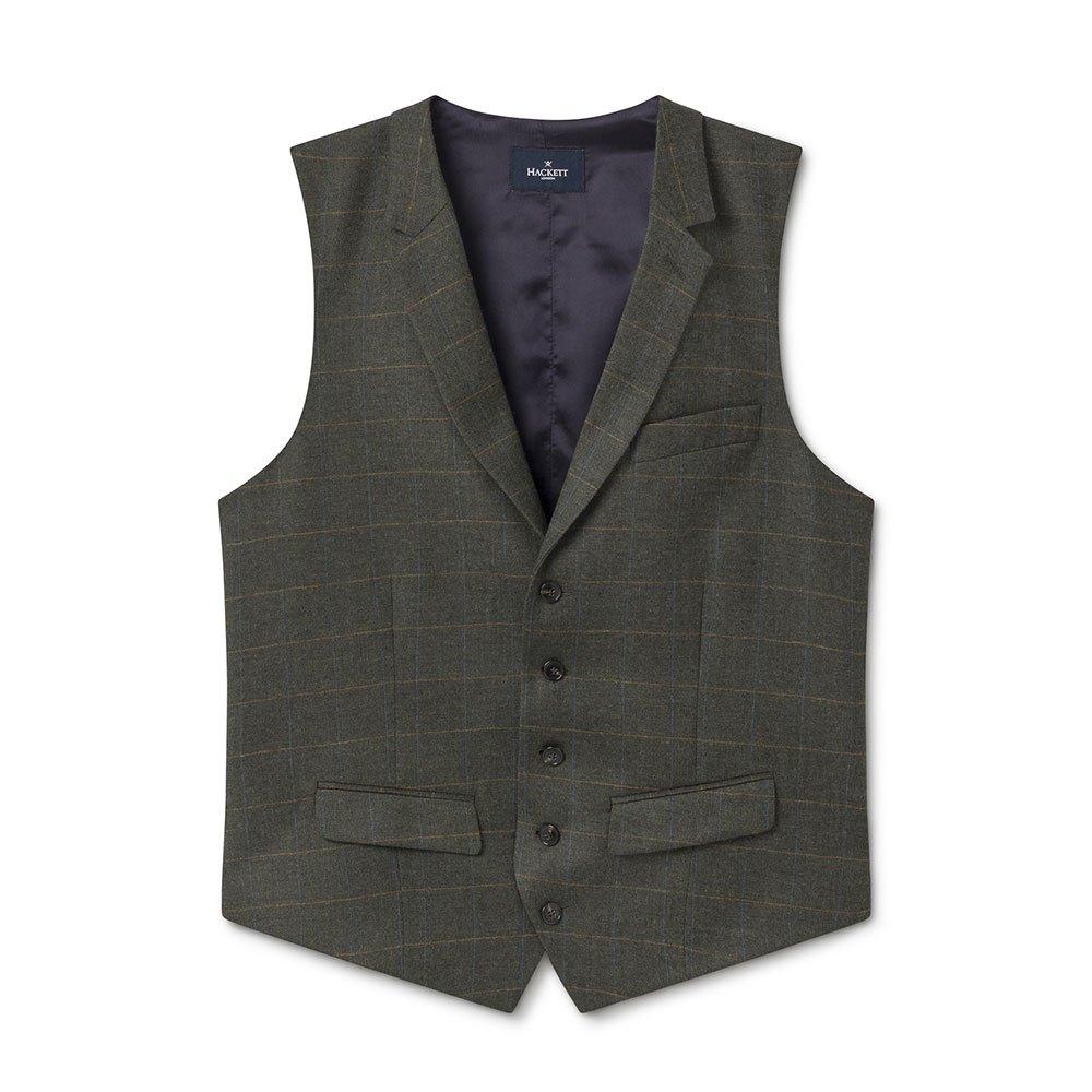 Hackett Khaki Tattersal Check Waistcoat 38 Khaki Green