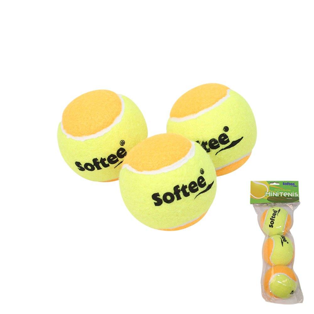 Softee Balles Tennis Mini Tennis 3 Balls Yellow / Orange
