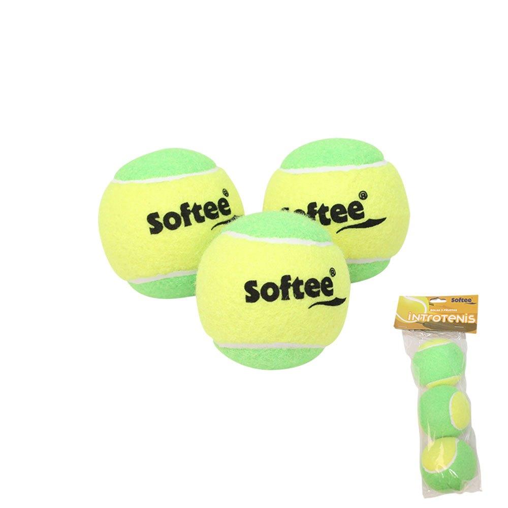 Softee Balles Tennis Intro Tennis 3 Balls Yellow / Green