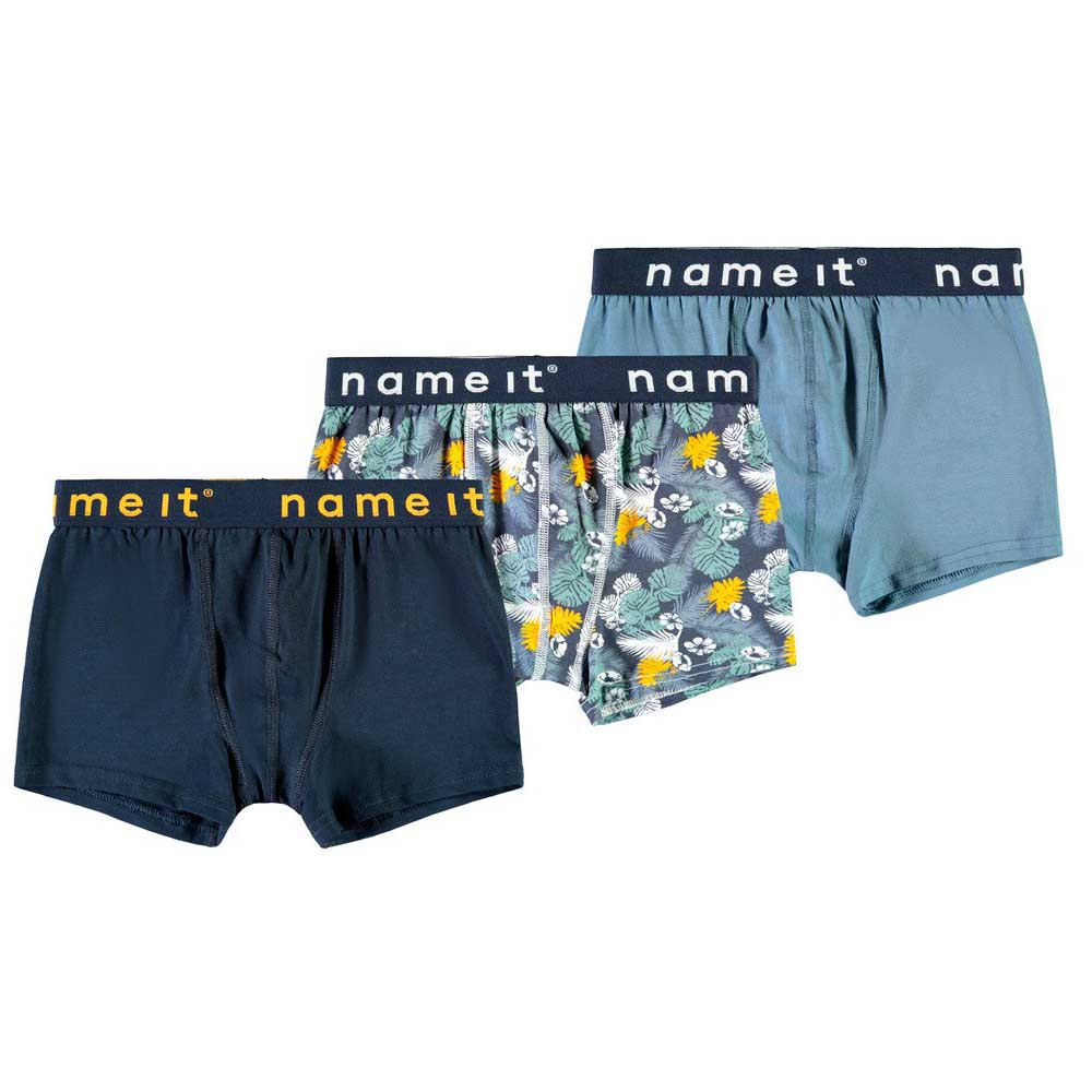 Name It Boxer Leaves Aop 3 Pack 122-128 cm China Blue
