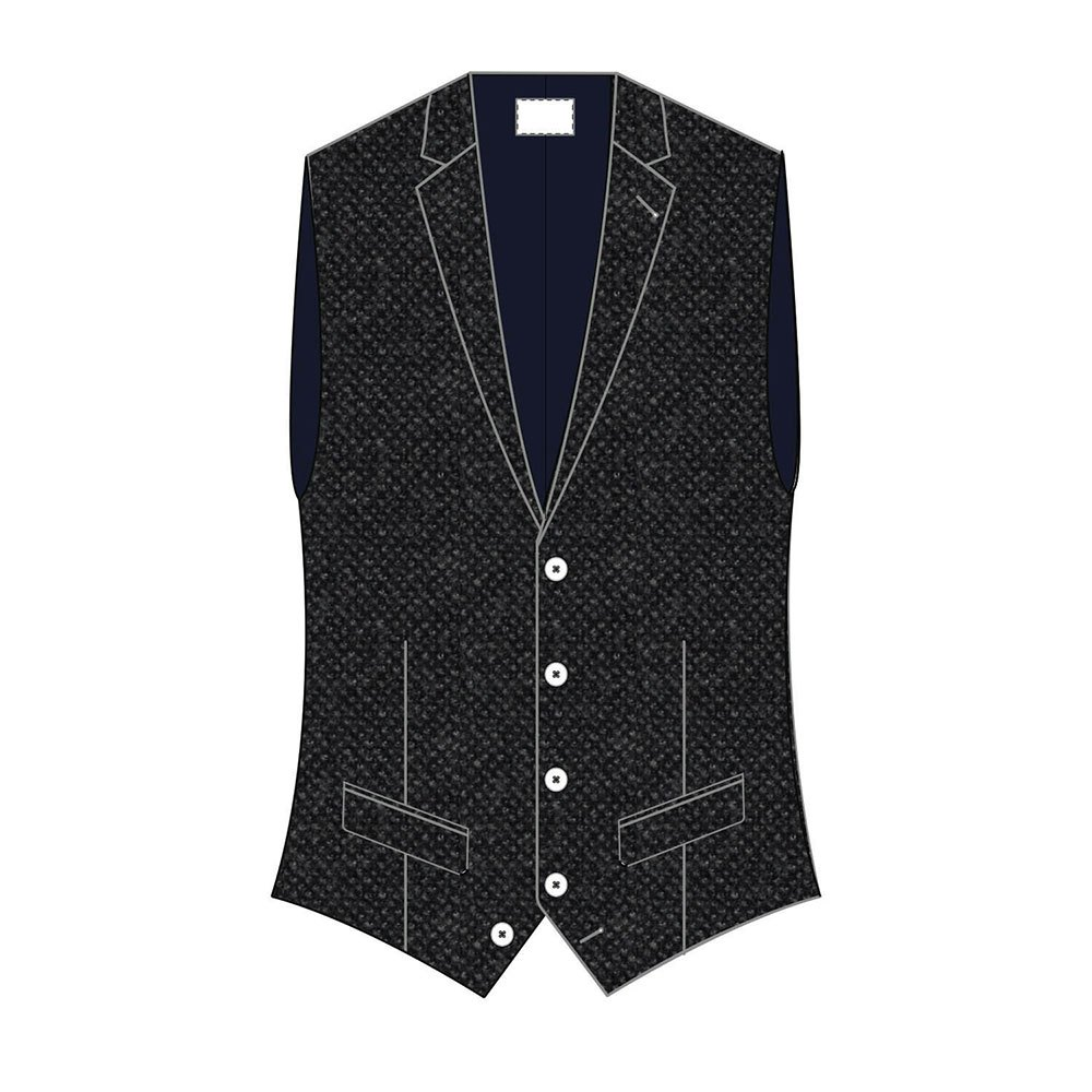 Hackett Sr Flanel Birdseye Waistcoat 42 Grey