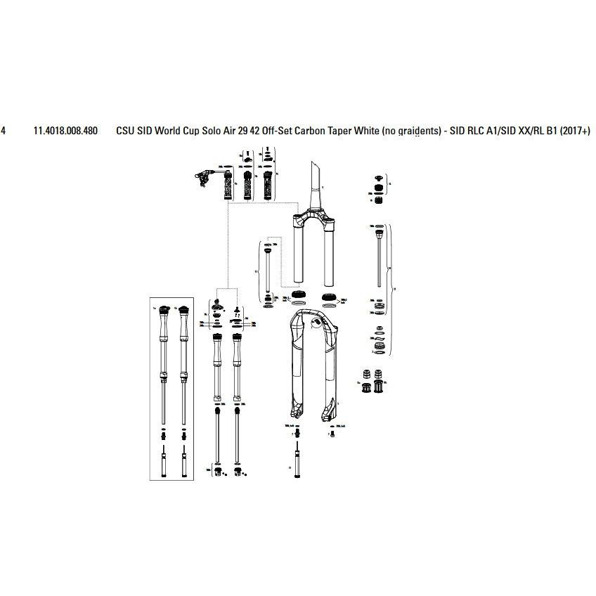Horquillas Sid World Cup/rlc/xx/rl 29´´ 42 Offset Solo Air Carbon Taper Csu
