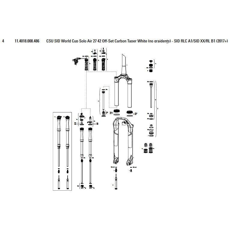 Horquillas Sid World Cup/rlc/xx/rl 27´´ 42 Offset Solo Air Carbon Taper Csu