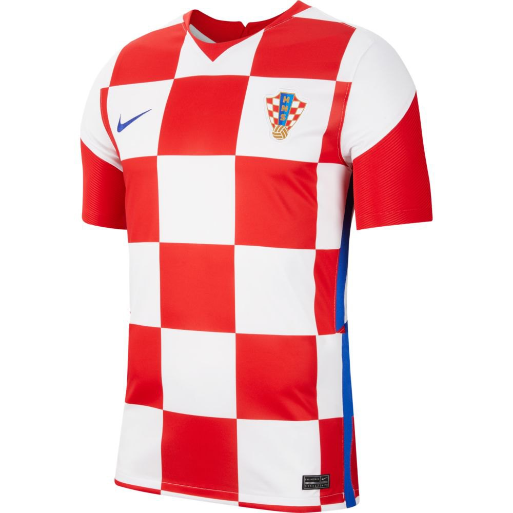 Nike T-shirt Croatie Domicile Breathe Stadium 2020 XL White / University Red / Bright Blue