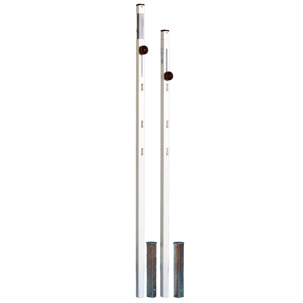 Powershot Square Badminton Posts - Adjustable Height 1.40 to 1.55m White