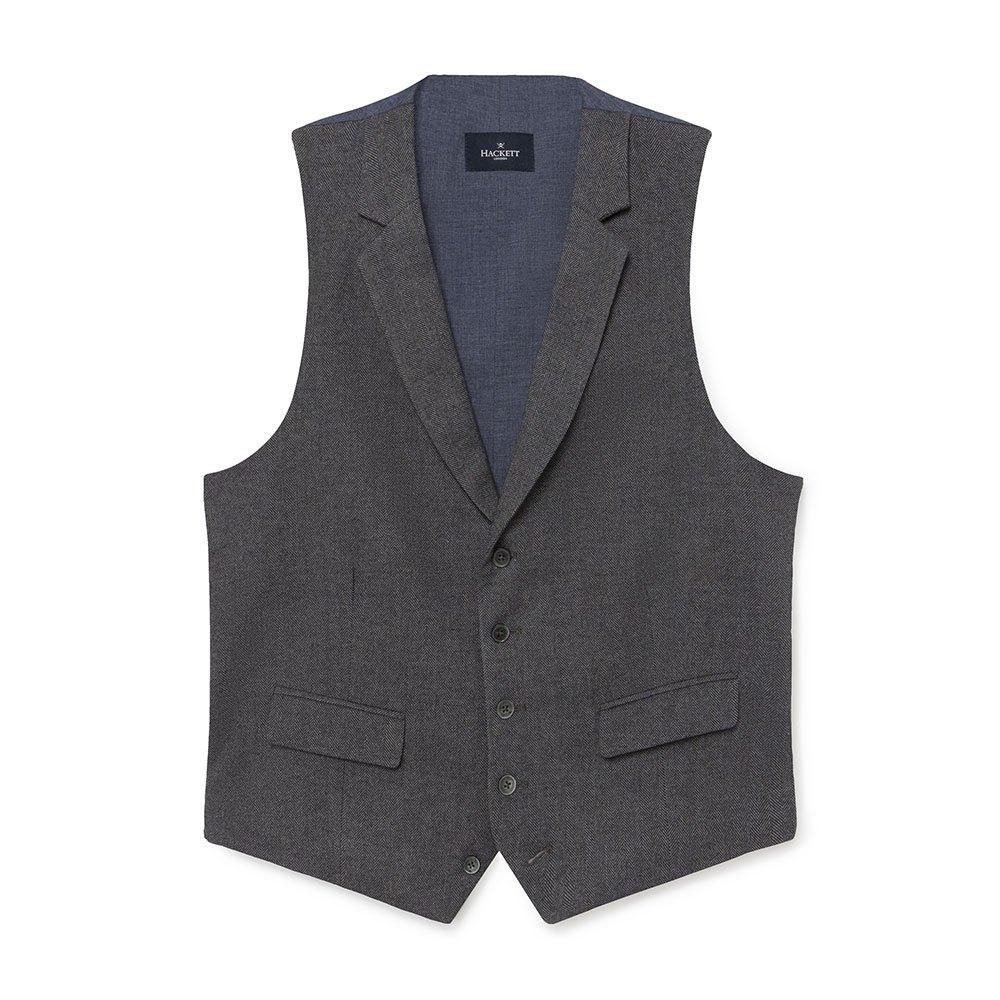 Hackett Brush Cotton Herringbone Waistcoat 34 Grey
