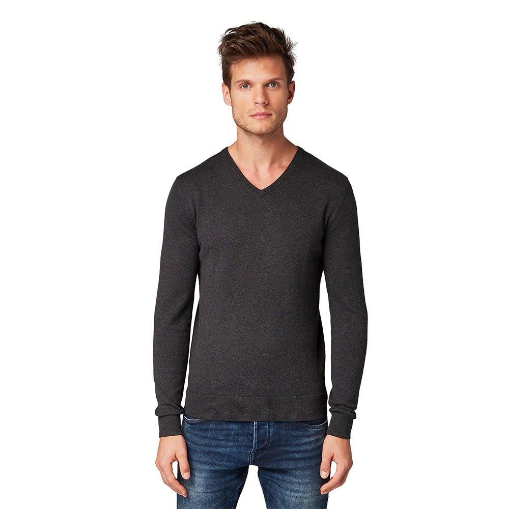 Tom Tailor Simple Knitted M Black Grey Melange