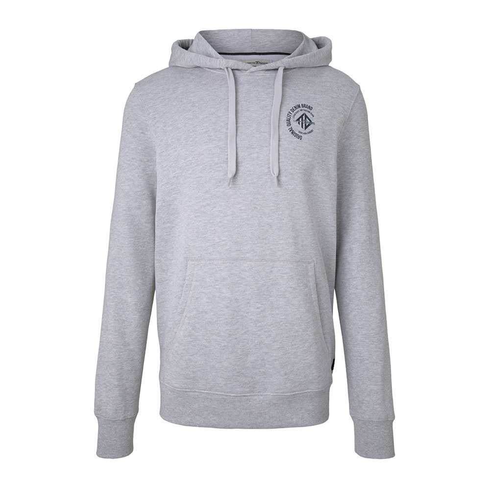 Tom Tailor Hoodie With A Small Chest Print L Light Stone Grey Melange
