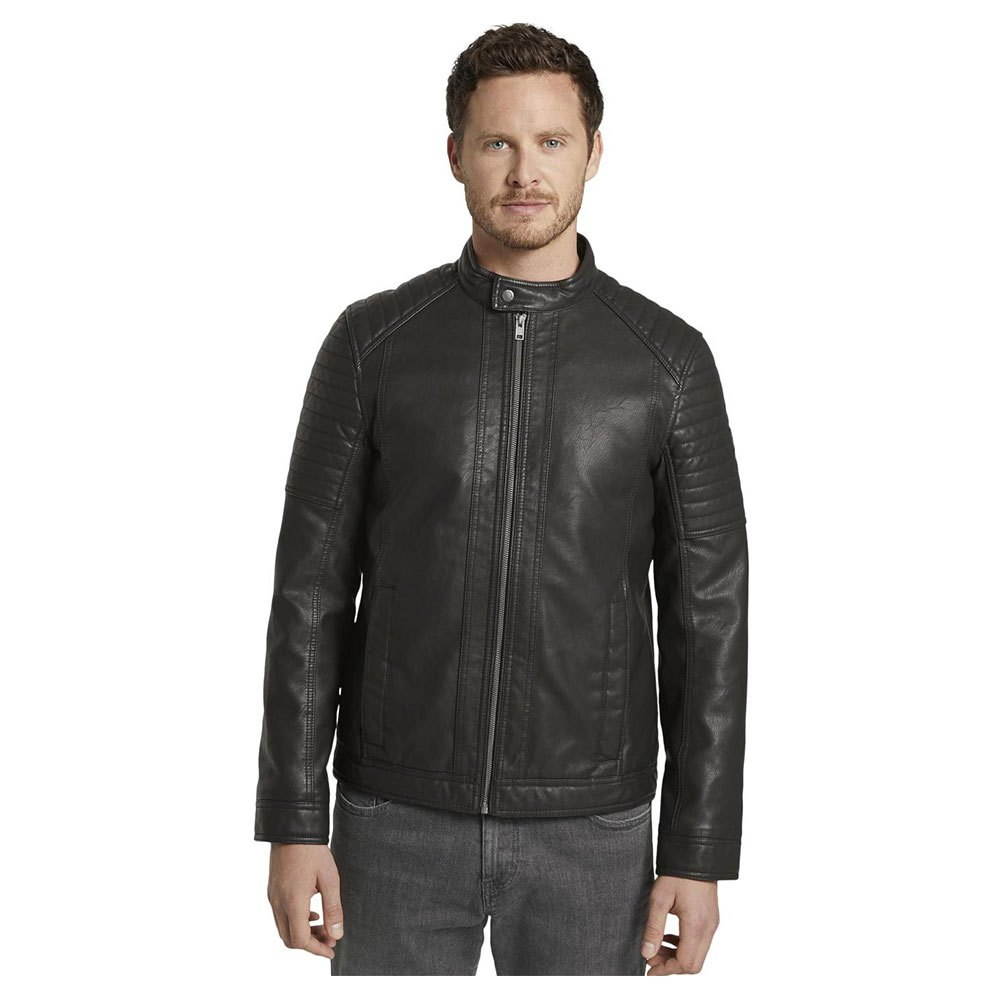 Tom Tailor Faux Leather Biker Jacket With A Stand-up Collar XL Black