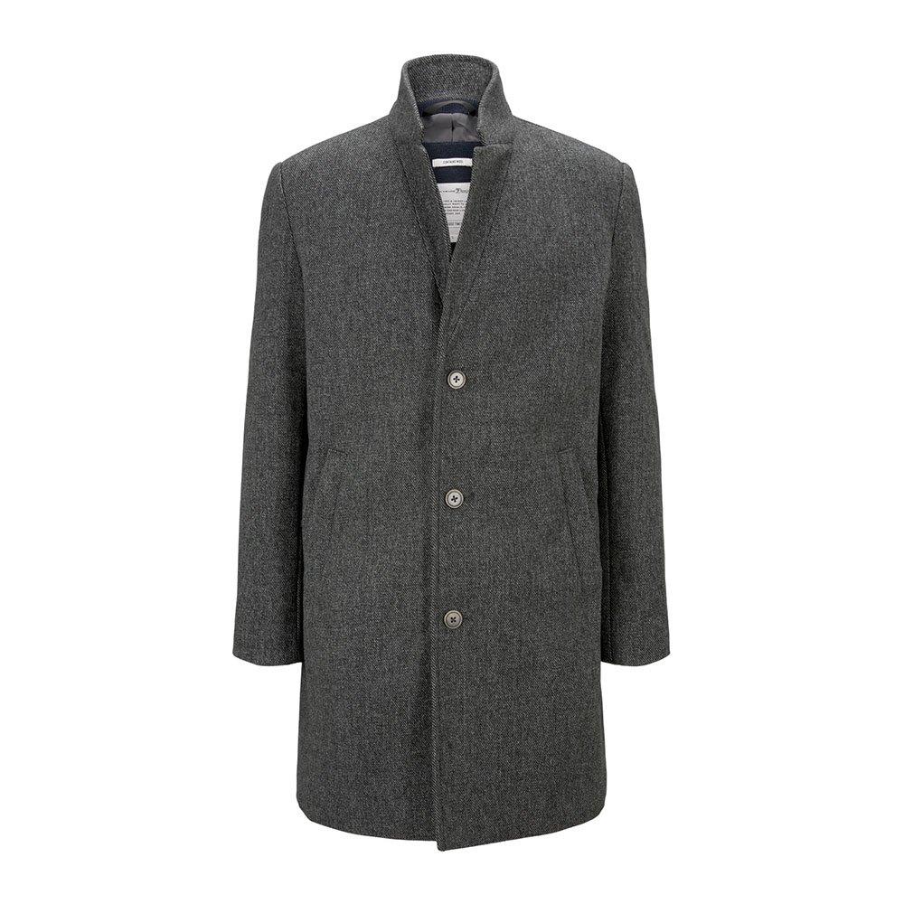 Tom Tailor Wool Blend Turtleneck Coat S Grey Melange Twill