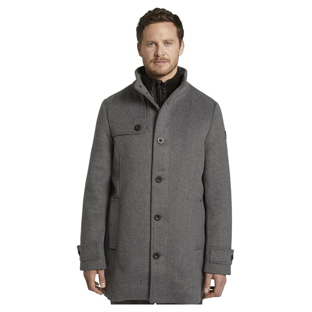 Tom Tailor Coat Made Of Wool Blend S Mid Grey Wool Jacket Structure