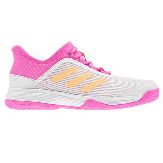 Adidas Badminton Adizero Club EU 31 1/2 Ftwr White / Acid Orange / Screaming Pink