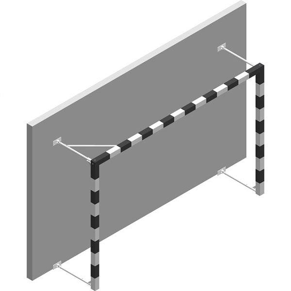 Powershot Wall-mounted Side-folding Aluminium 3 x 2 m White / Red