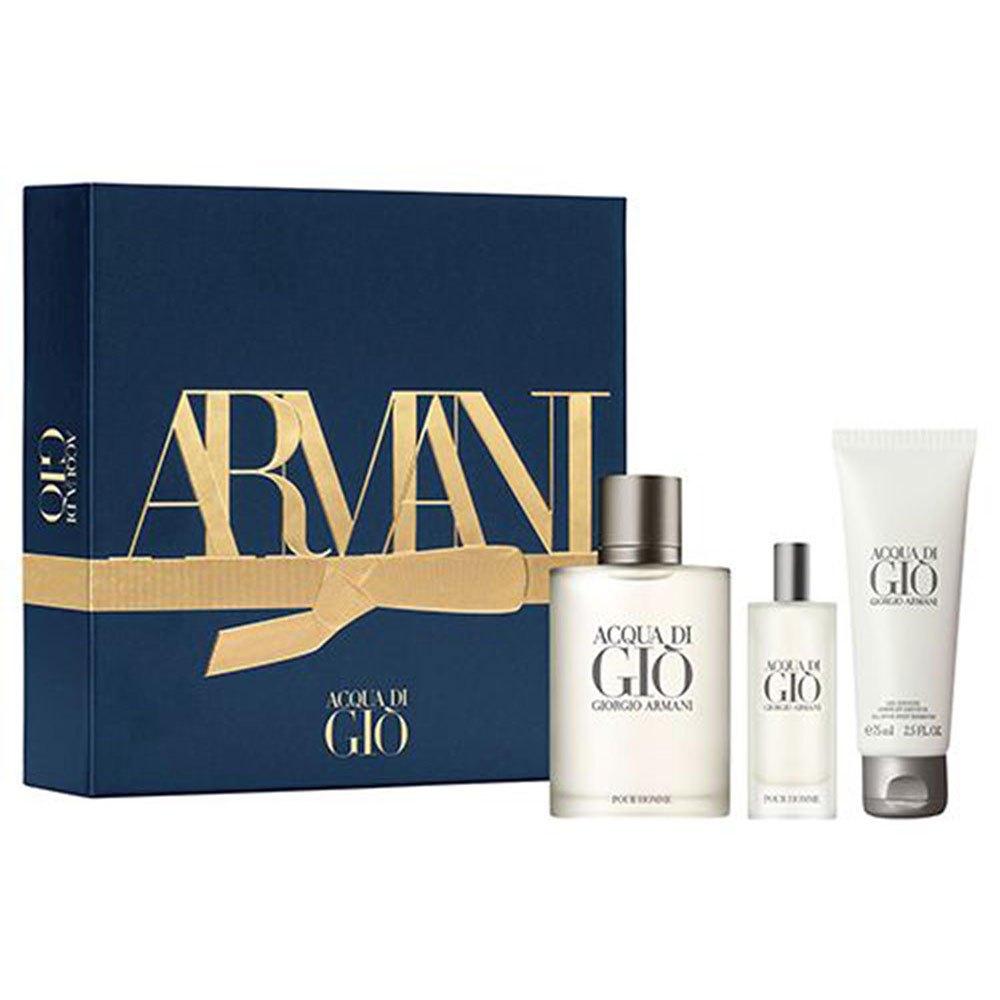 Giorgio Armani Acqua Di Gio Eau De Toilette 100ml+eau De Toilette 15ml+bath Gel 75ml Pack One Size Navy / White / Gold