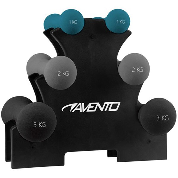 Avento Hand Weight Set With Rack One Size Black / Grey / Blue