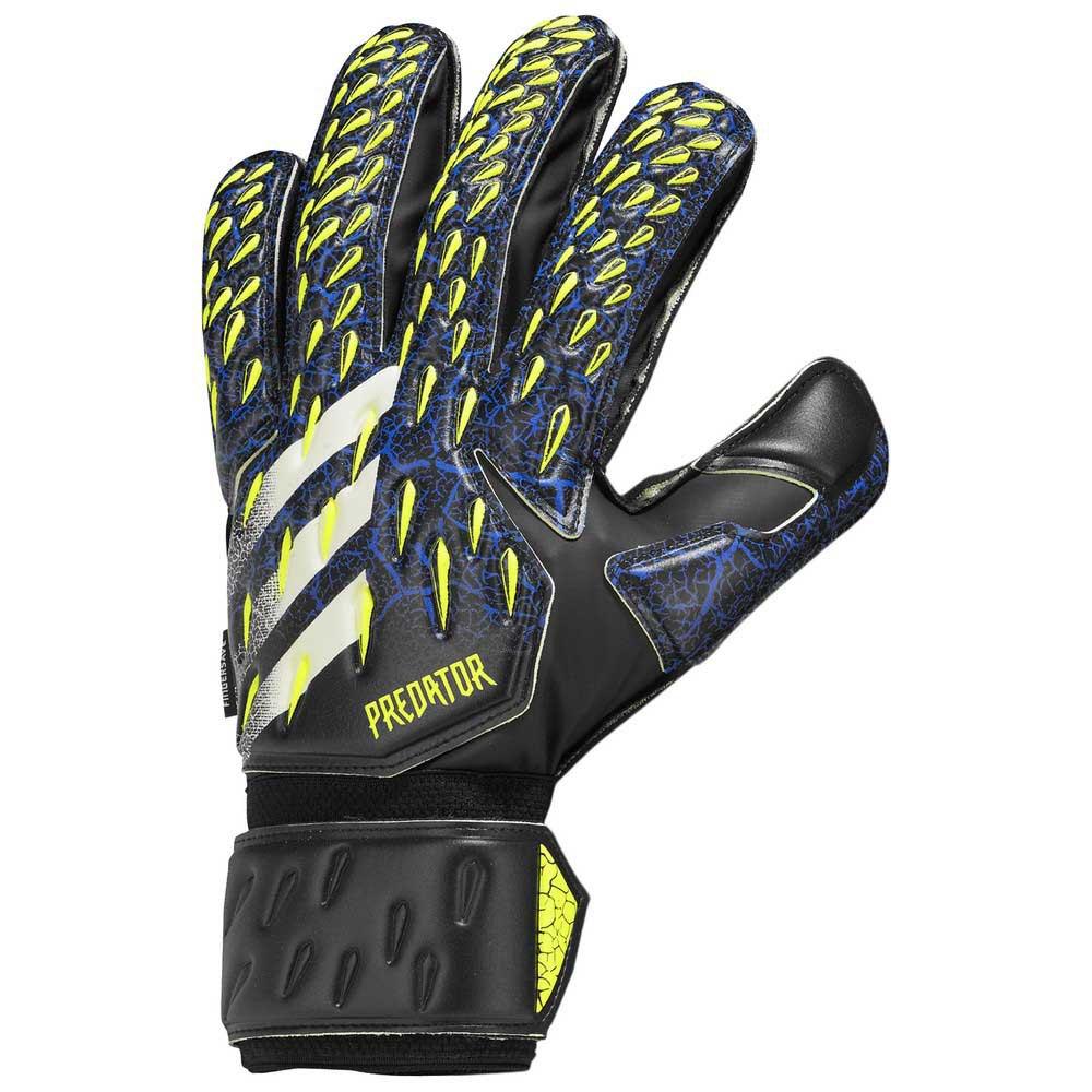 Adidas Predator Match Fingersave Goalkeeper Gloves 10 Black / Team Royal Blue / Solar Yellow / White
