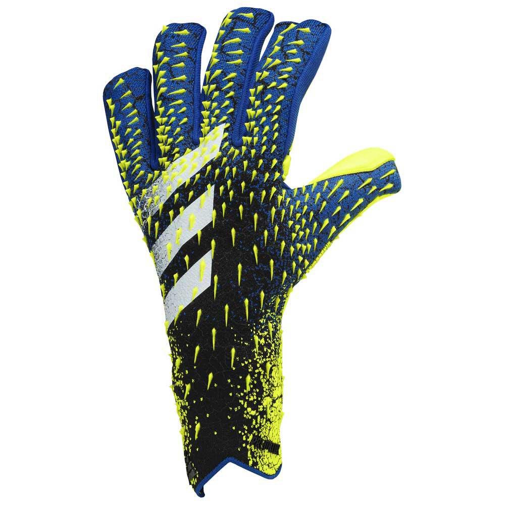Adidas Predator Pro Fingersave Goalkeeper Gloves 10 Black / Team Royal Blue / Solar Yellow / White