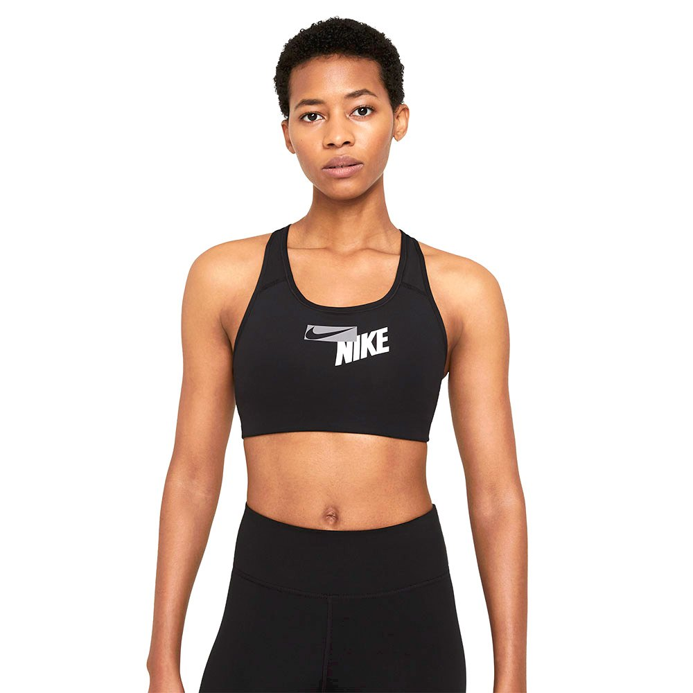 Nike Swoosh Logo Medium Support Padded L Black / Black / Particle Grey