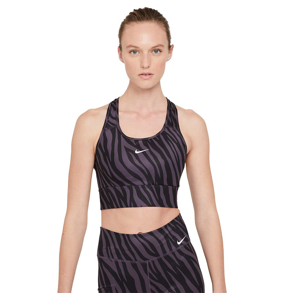 Nike Dri Fit Swoosh Icon Clash Longline Medium Support Padded L Dark Raisin / White