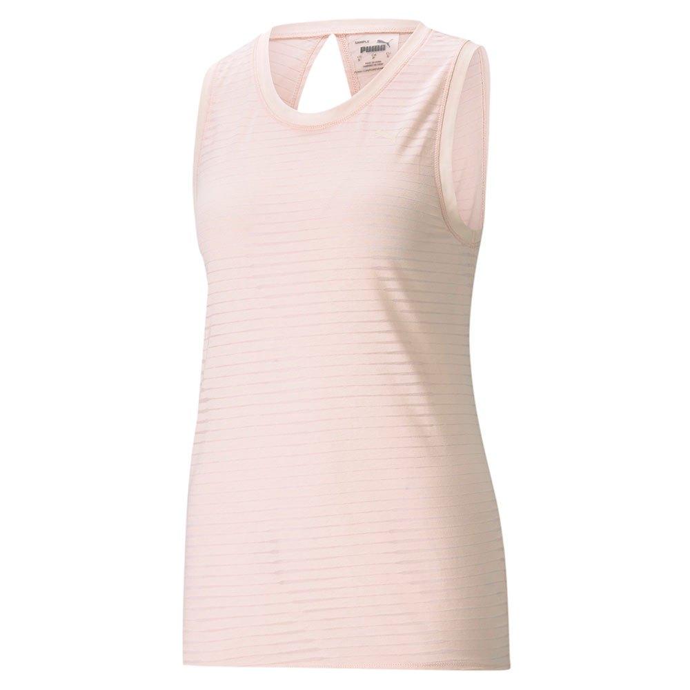 Puma T-shirt Sans Manches Studio Burnout L Cloud Pink / Burn Out Print