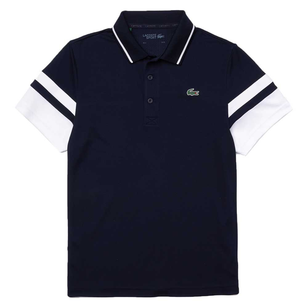 Lacoste Sport Striped Sleeves Breathable Piqué M Marine / Blanc