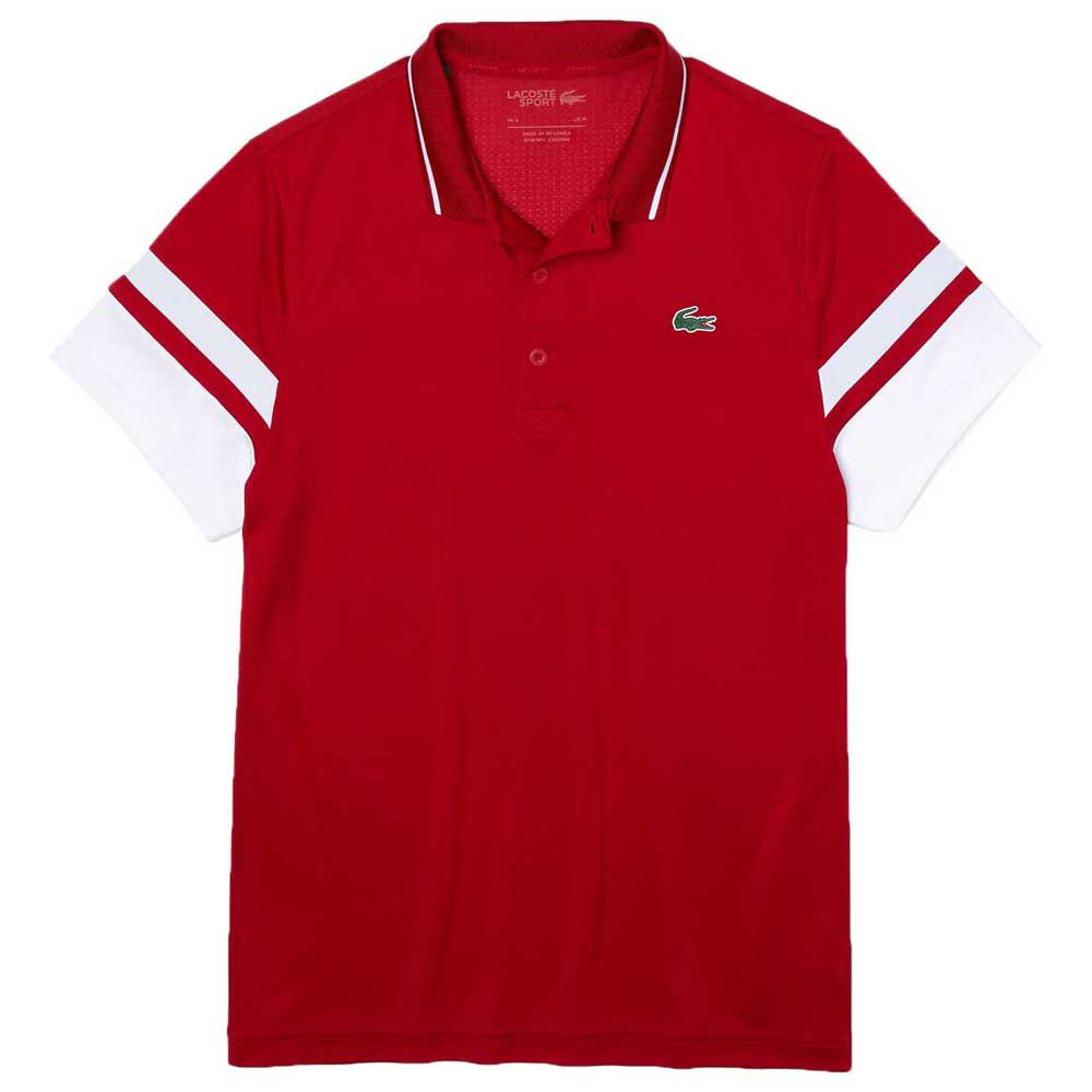 Lacoste Sport Striped Sleeves Breathable Piqué M Rubis / Blanc