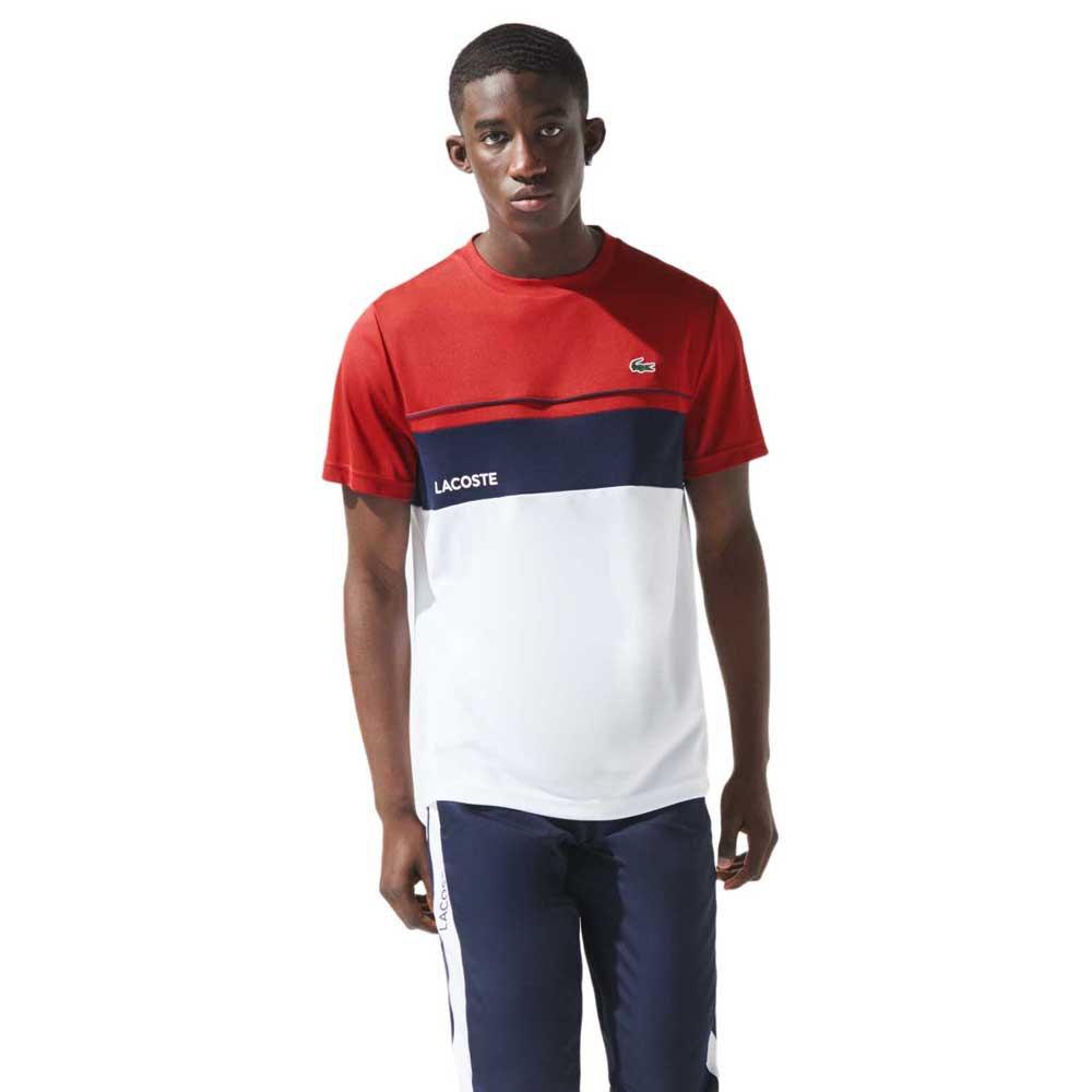 Lacoste Sport Crew Breathable Colourblock XL Rubis / Blanc-Marine